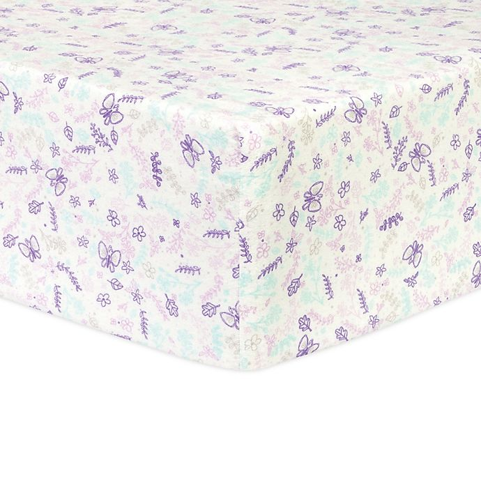 Alternate image 1 for Trend Lab® Flannel Floral Fitted Crib Sheet in Purple/White