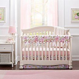 Liz and Roo Watercolor Floral Rail Guard for Crib in Blush