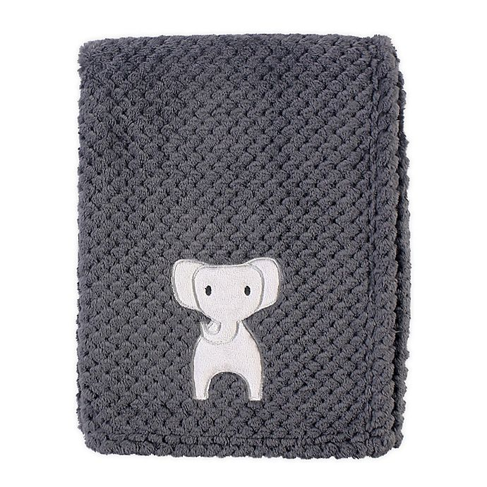 Alternate image 1 for Hudson Baby Modern Elephant Waffle Swaddle Blanket in Grey
