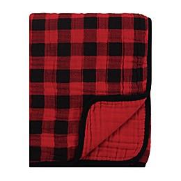 Hudson Baby Buffalo Check Stroller Blanket in Black