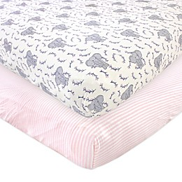 Touched by Nature 2-Pack Elephant Organic Cotton Fitted Crib Sheets