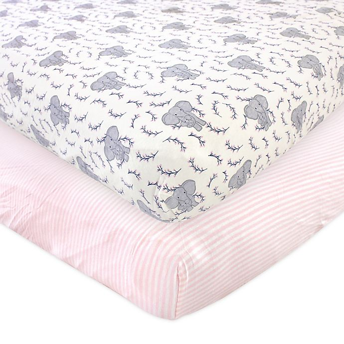 Alternate image 1 for Touched by Nature 2-Pack Elephant Organic Cotton Fitted Crib Sheets