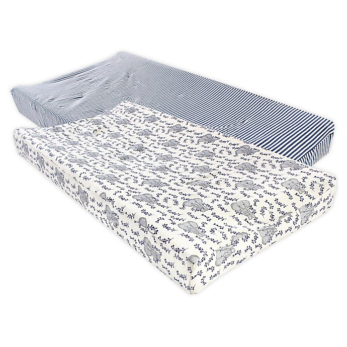Alternate image 1 for Touched by Nature® Elephant Organic Cotton Changing Pad Covers in Blue (Set of 2)
