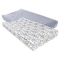 Touched by Nature® Elephant Organic Cotton Changing Pad Covers in Blue (Set of 2)
