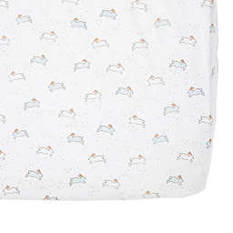 pehr Just Hatched Bunny Fitted Crib Sheet in Blue