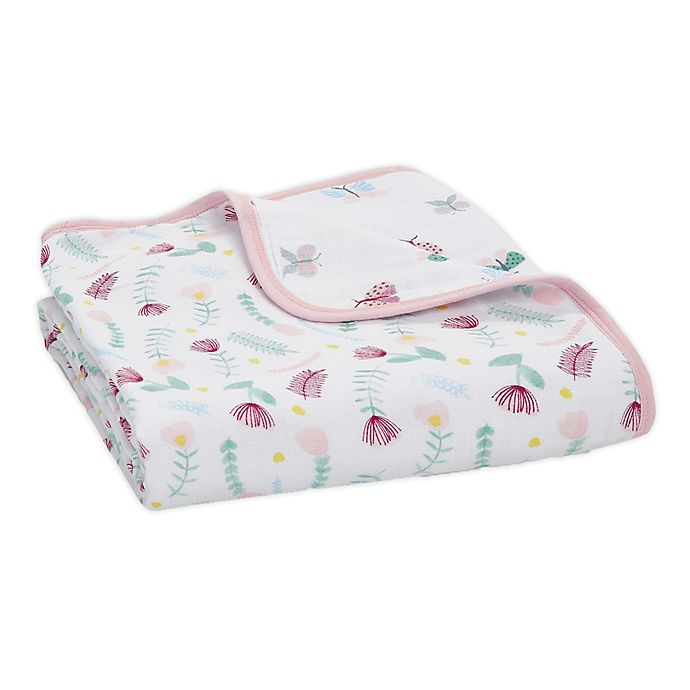 Alternate image 1 for aden + anais® essentials Floral Fauna Muslin Blanket in Pink
