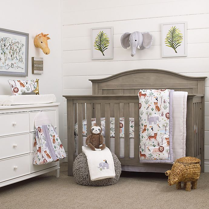 Alternate image 1 for NoJo® Growing Wild 8-Piece Polyester Crib Bedding Set in Grey