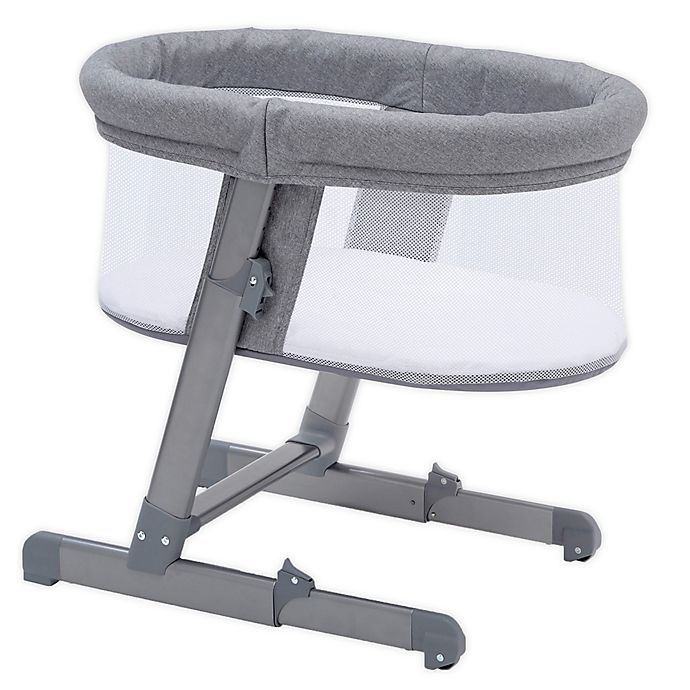 Alternate image 1 for Simmons Kids City Sleeper Oval Bassinet in Grey with Quilted Mattress by Delta Children