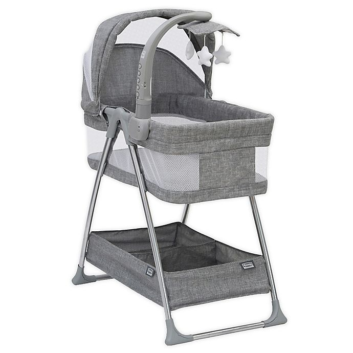 Alternate image 1 for Simmons Kids City Sleeper Trendy Bassinet in Grey with Electronic Mobile by Delta Children