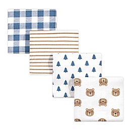 hudson baby 4-Pack Camping Bear Cotton Receiving Blanket in Blue