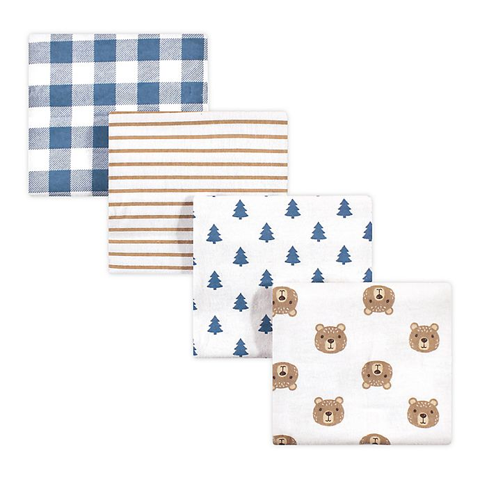 Alternate image 1 for hudson baby 4-Pack Camping Bear Cotton Receiving Blanket in Blue