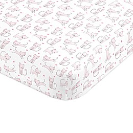 NoJo® Purrdy Kitty Cat Standard Crib Sheet in Pink