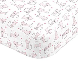 NoJo® Purrdy Kitty Cat Mini Crib Sheet in Pink
