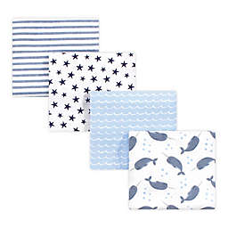 hudson baby 4-Pack Narwhal Cotton Receiving Blanket in Blue