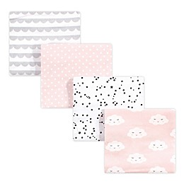 hudson baby 4-Pack Cloud Cotton Receiving Blankets in Pink
