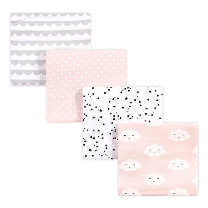 Alternate image 1 for hudson baby 4-Pack Cloud Cotton Receiving Blankets in Pink