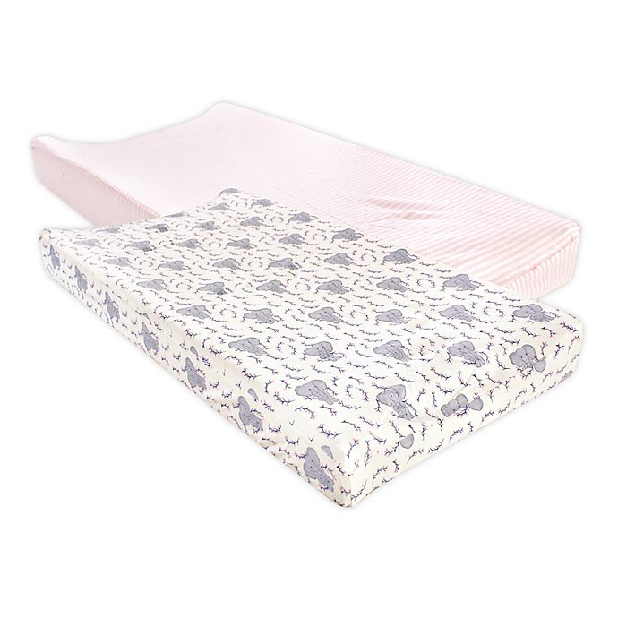 Alternate image 1 for Touched by Nature® 2-Pack Elephant Changing Pad Cover in Pink