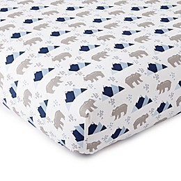 Levtex Baby® Trail Mix Cotton Mini Fitted Crib Sheet in Blue/Grey