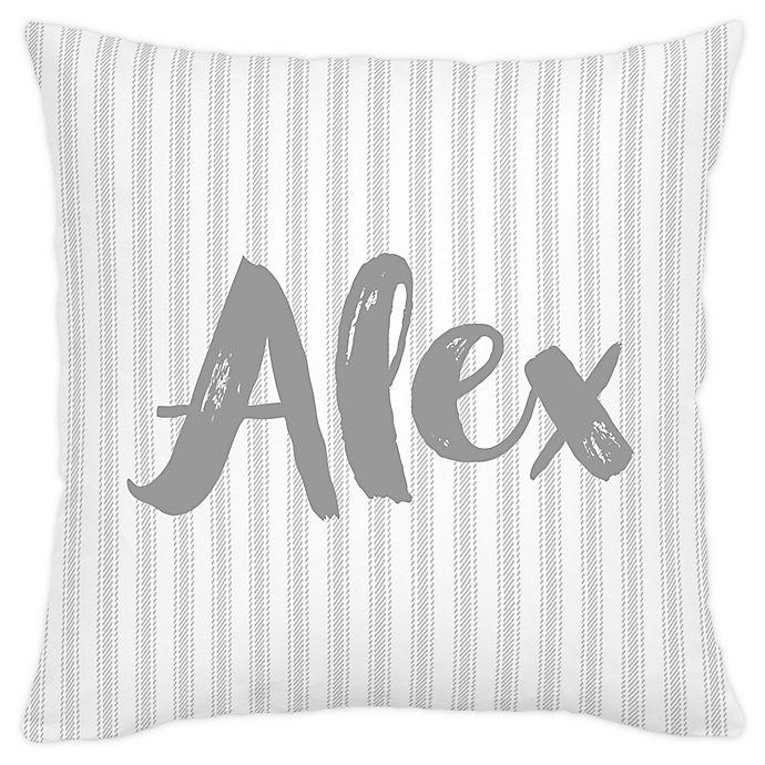 Alternate image 1 for Carousel Designs® Ticking Stripe Square Throw Pillow in Grey