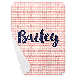 Carousel Designs® Watercolor Plaid Receiving Blanket in Light Coral