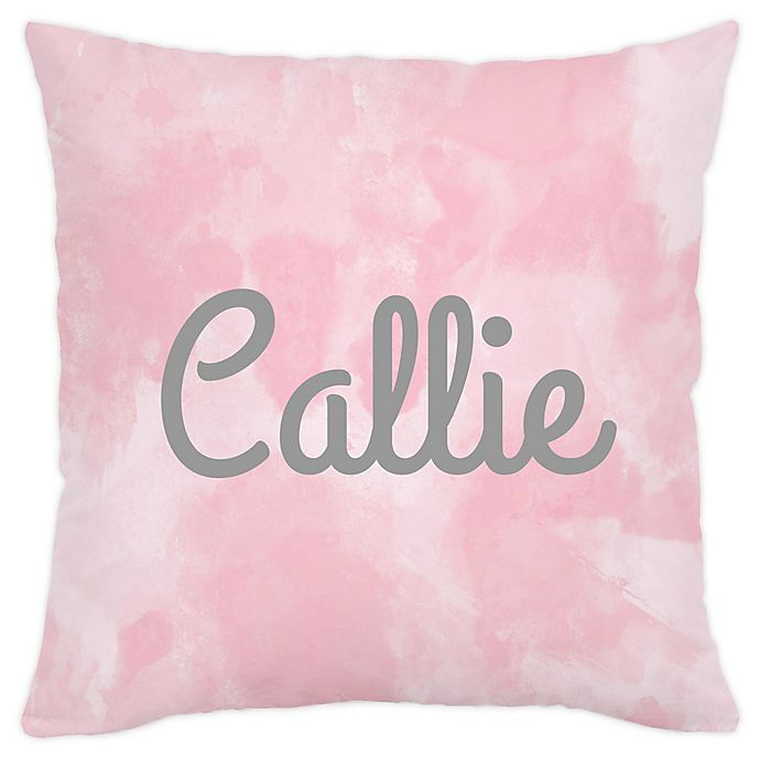 Alternate image 1 for Carousel Designs® Watercolor Square Throw Pillow in Pink
