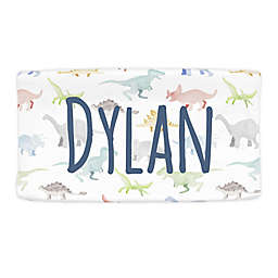 Carousel Designs® Watercolor Dinosaurs Changing Pad Cover in White