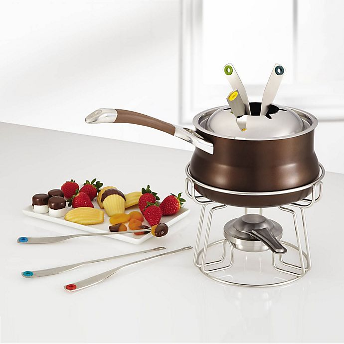 Alternate image 1 for Circulon® Symmetry™ Hard Anodized Nonstick 3.25-Quart Fondue Set in Chocolate