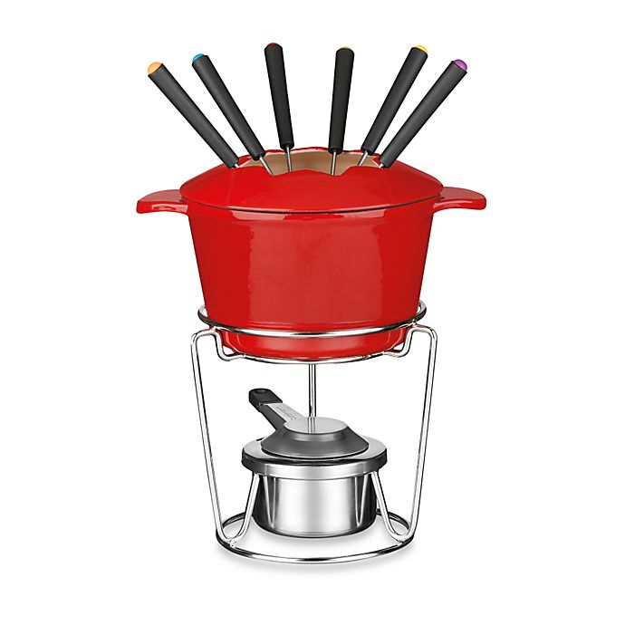 Alternate image 1 for Cuisinart® 13-Piece Enamel Cast Iron Fondue Set in Red