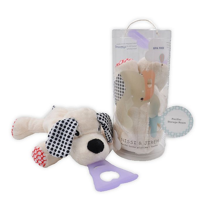 Alternate image 1 for Nissi & Jireh® Dog 4-in-1 Teething Toy and Detachable Pacifier Holder