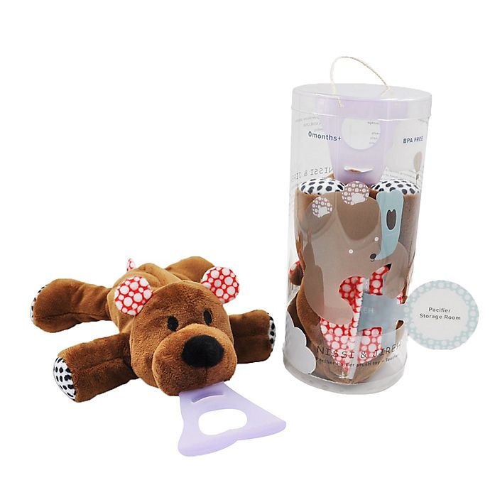 Alternate image 1 for Nissi & Jireh® Bear 4-in-1 Teething Toy and Detachable Pacifier Holder