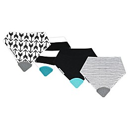 Bazzle Baby 4-Pack Stripes & Pen Lines Banda Bib Teethers in Black/White