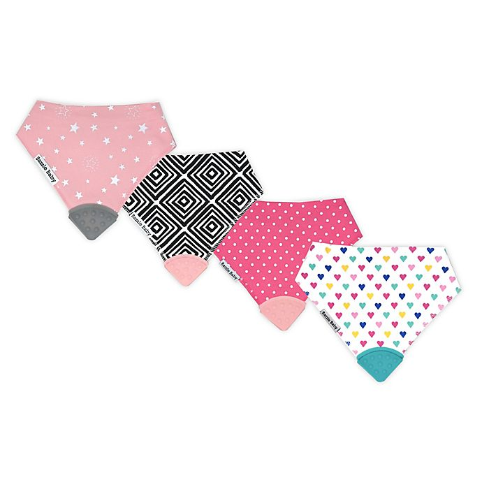 Alternate image 1 for Bazzle Baby 4-Pack Sweet Girl Banda Bib Teethers in Pink