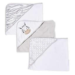 Spasilk® 3-Pack Zebra Hooded Towels in Grey