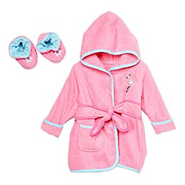 Spasilk® Baby Flamingo Hooded Terry Bathrobe and Booties Set in Pink