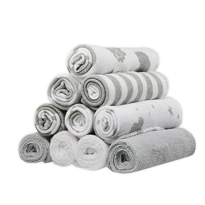Alternate image 1 for Spasilk® 10-Pack Celestial Washcloths in Grey