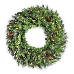 Vickerman 36-Inch Cheyenne Pine Pre-Lit Wreath with Clear Lights