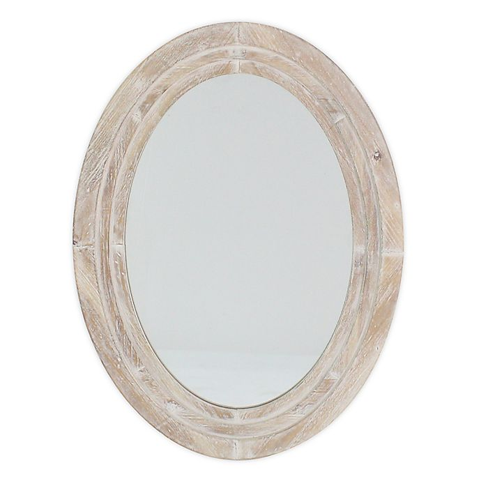 Alternate image 1 for Bee & Willow™ Home 31.5-Inch x 23.25-Inch Oval Wall Mirror in White Wash