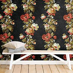 RoomMates® Vintage Floral Stripe Peel and Stick Wallpaper in Black