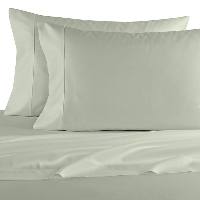 Alternate image 1 for Elizabeth Arden™ Soft Breeze Cotton Sateen 400-Thread-Count Standard Pillowcase Pair in Sage