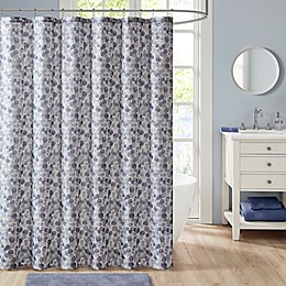 Madison Park Nells Printed Cotton Shower Curtain in Blue