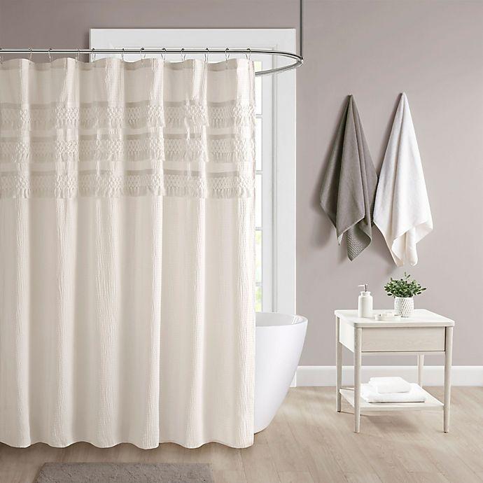Alternate image 1 for Madison Park Amaya Cotton Seersucker with Tassel Shower Curtain in Ivory