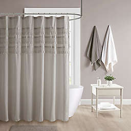 Madison Park Amaya Cotton Seersucker with Tassel Shower Curtain in Grey
