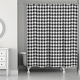 Designs Direct 71-Inch x 74-Inch Houndstooth Shower Curtain in Black/White