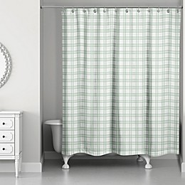 Designs Direct 71-Inch x 74-Inch Buffalo Check Shower Curtain in Sage
