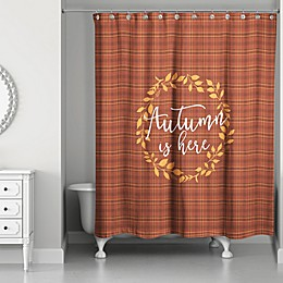 Designs Direct 71-Inch x 74-Inch Autumn's Here Shower Curtain in Red