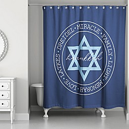 Designs Direct 72-Inch x 74-Inch Hanukkah Circle Shower Curtain in Blue