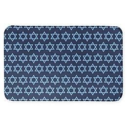 Blue Star of David Pattern 34x21 Bath Mat