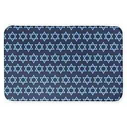 Blue Star of David Pattern 34x21 Bath Mat