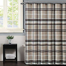 Truly Soft Paulette Plaid Shower Curtain in Taupe