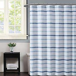 Truly Soft Waffle Stripe Shower Curtain in Blue